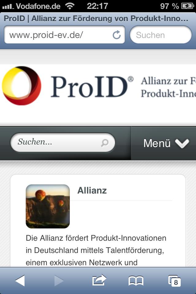 ProID Webseite für Smartphones optimiert